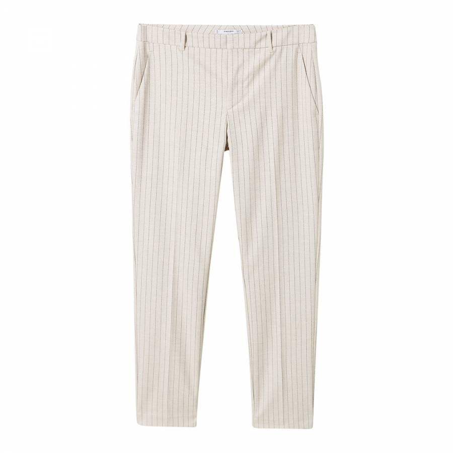 super service really comfortable unparalleled Beige Straight Striped Trousers - BrandAlley