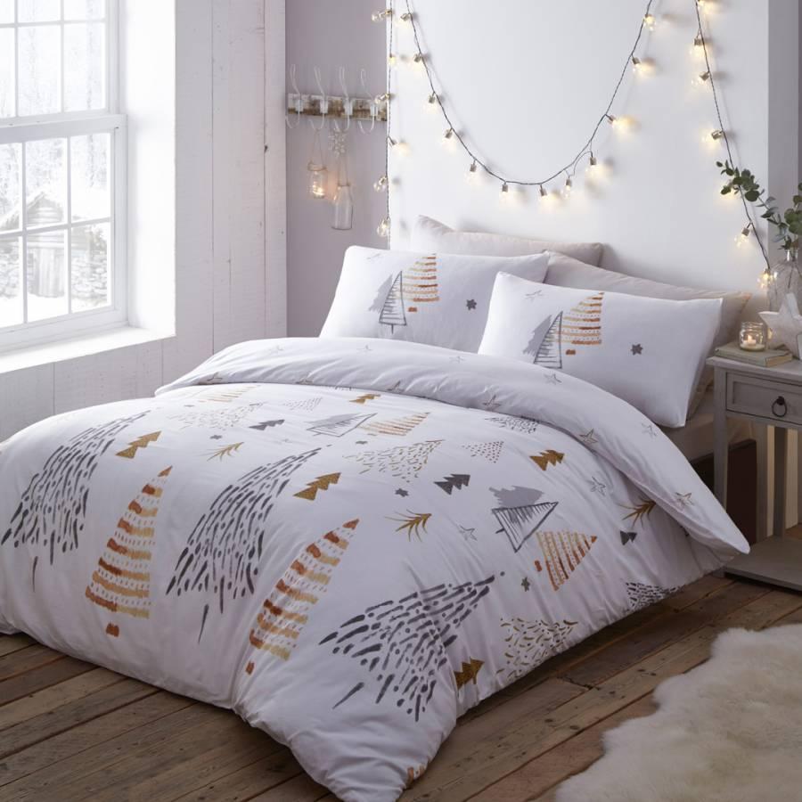 Christmas Trees Double Duvet Cover Set, Gold - BrandAlley