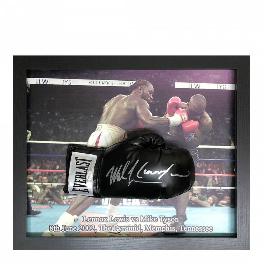 collectable Lennox Lewis Vs Mike Tyson Autographed Mini Boxing gloves