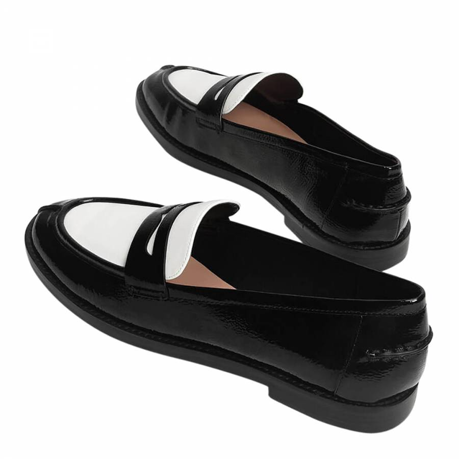 Black and White Classic Penny Loafers - BrandAlley