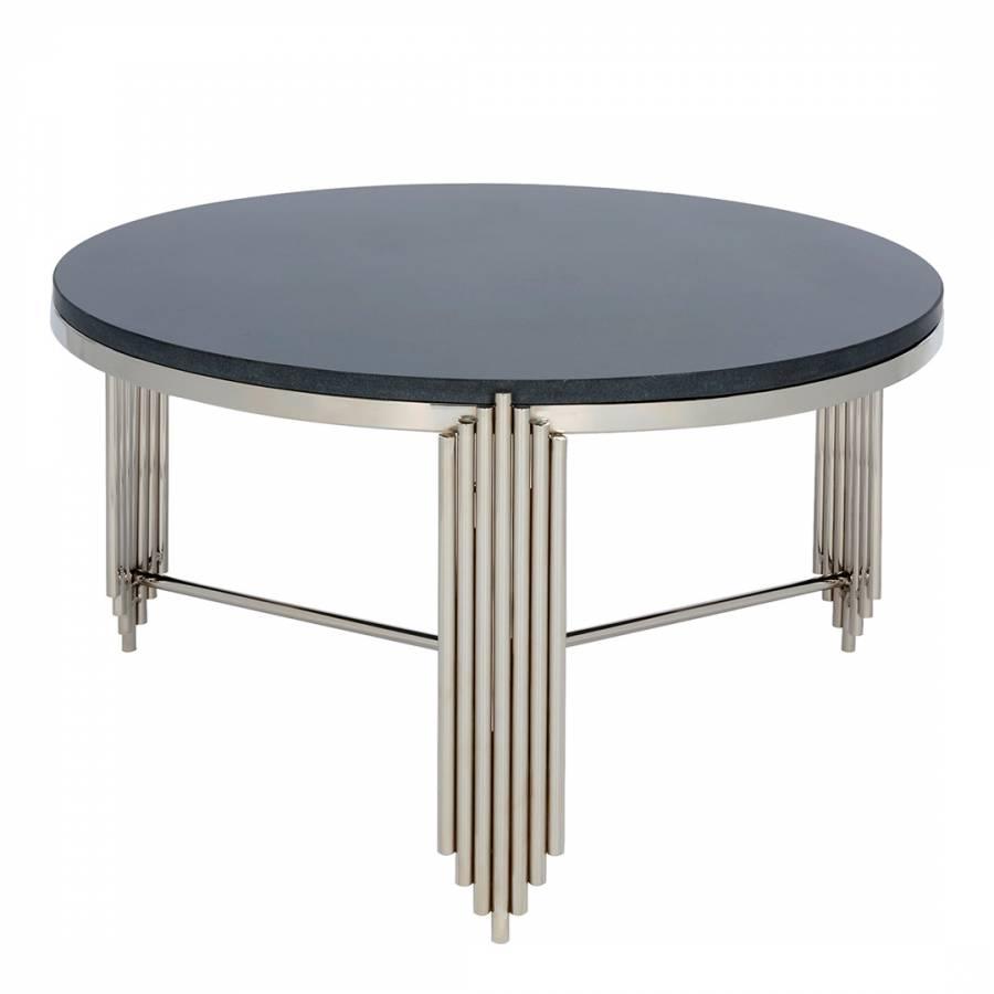 Jaipur Round Nickel Coffee Table Black Granite Top