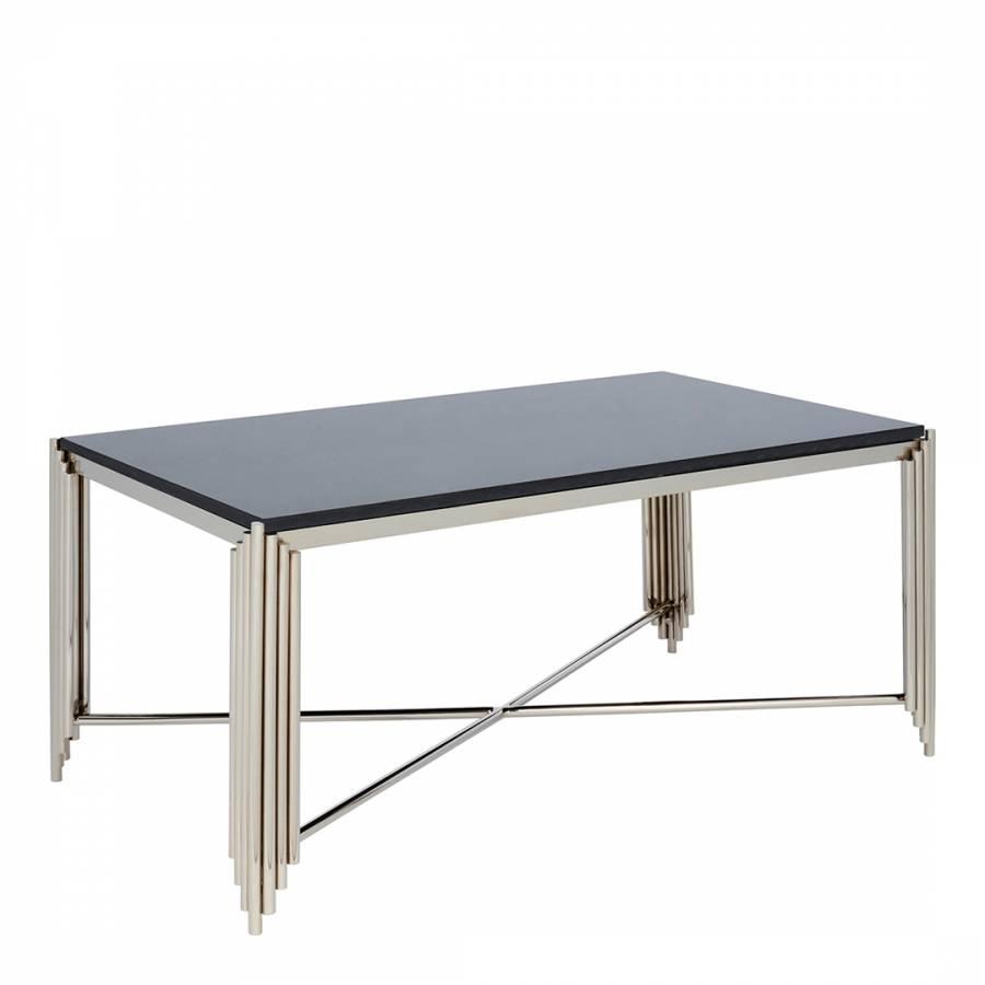 Jaipur Rectangular Nickel Coffee Table Black Granite Top