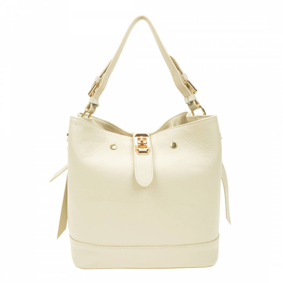 Image of Beige Leather Shoulder Bag