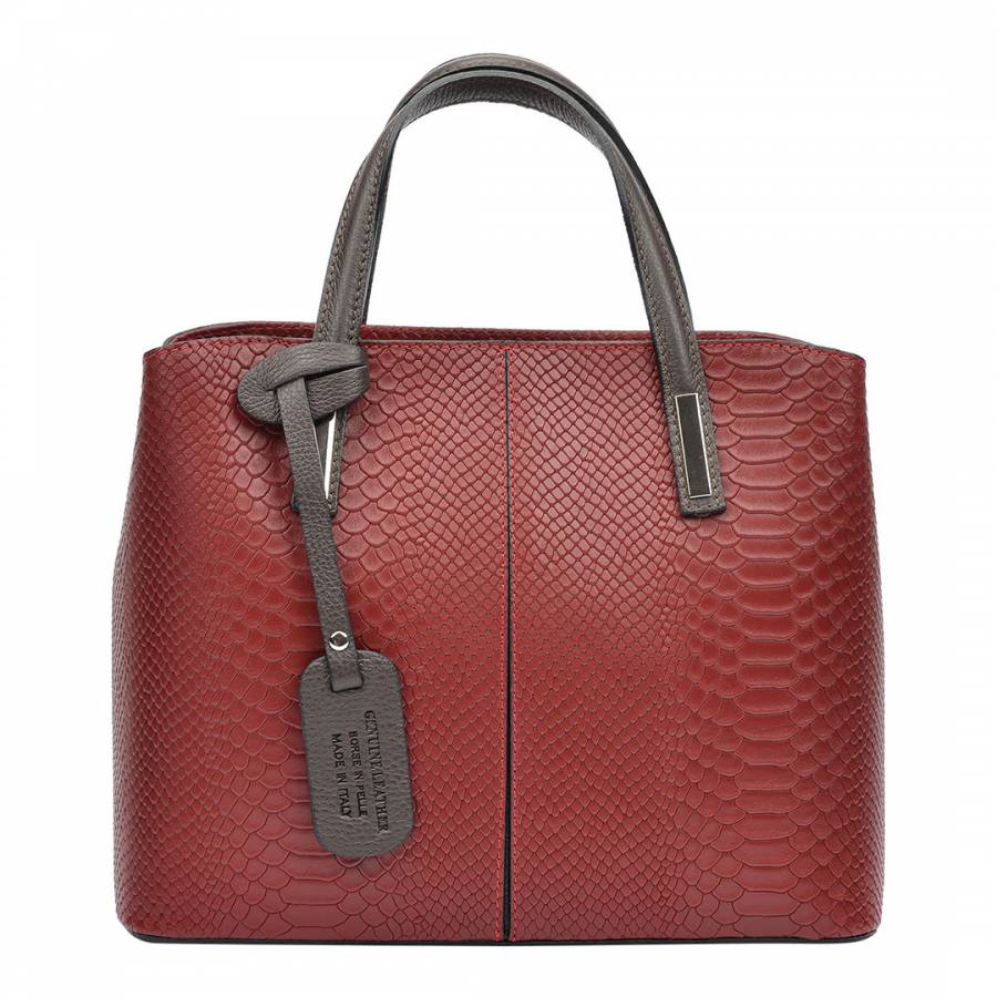 Image of Burgundy Leather Top Handle Bag