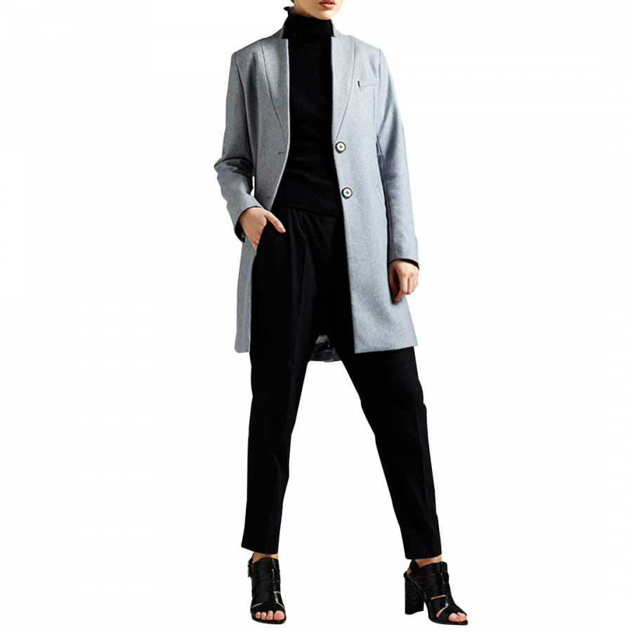 Image of Grey Wool Blend Tailored Coat