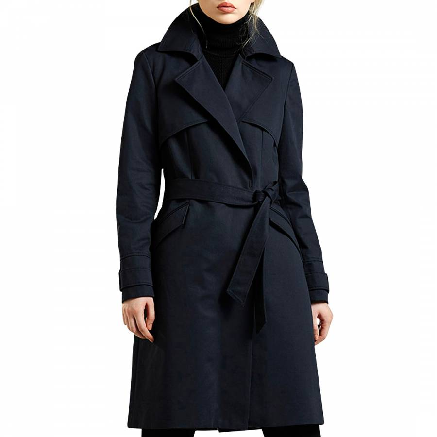 Image of Midnight Blue Cotton Trench