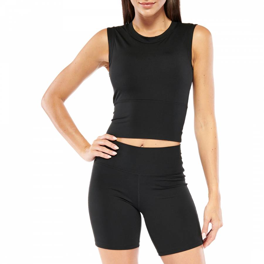 Image of Black Cropped Top with Built in Padding