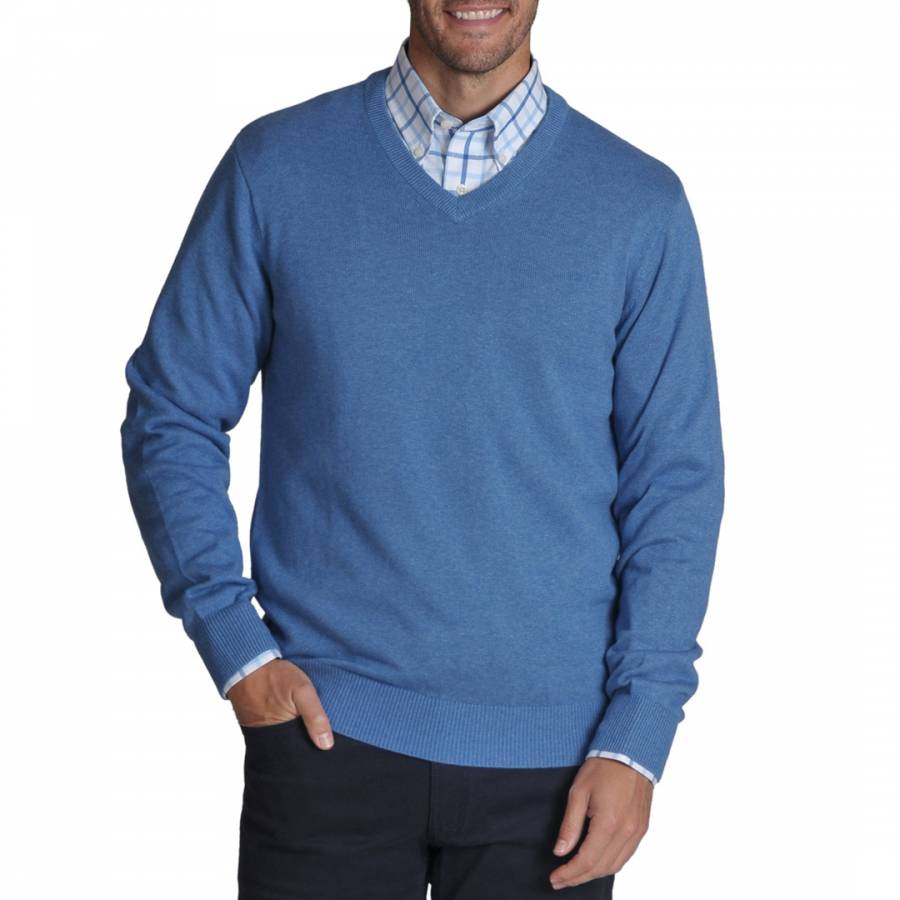 Schöffel Cotton Cashmere V Neck Jumper Denim
