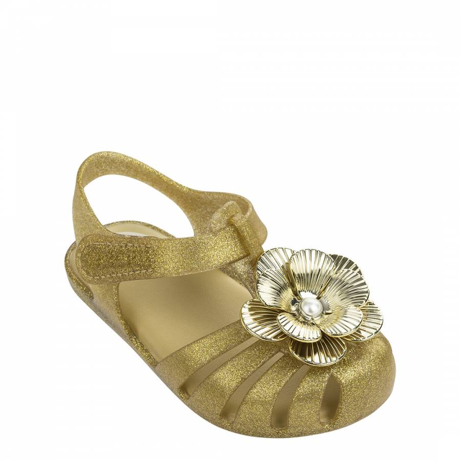 Image of Baby Gold Flower Pearl Jelly Shoes