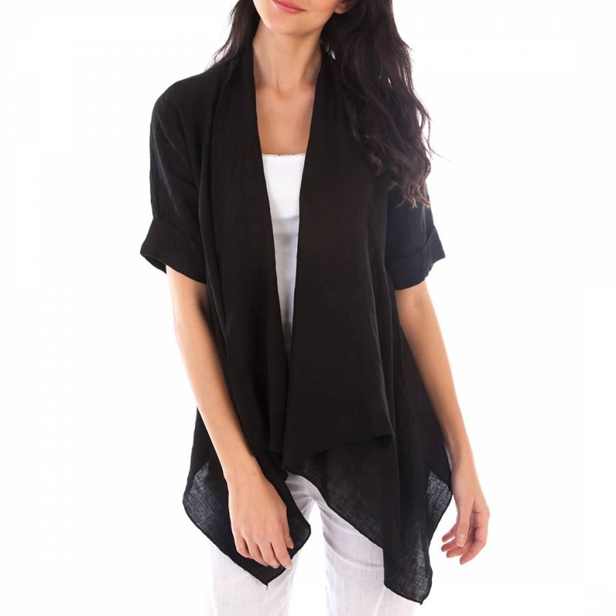 Image of Black Open Linen Jacket
