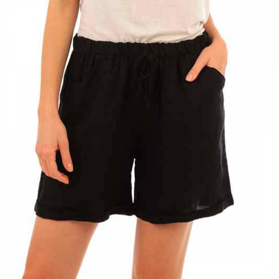 Image of Black Mini Linen Shorts