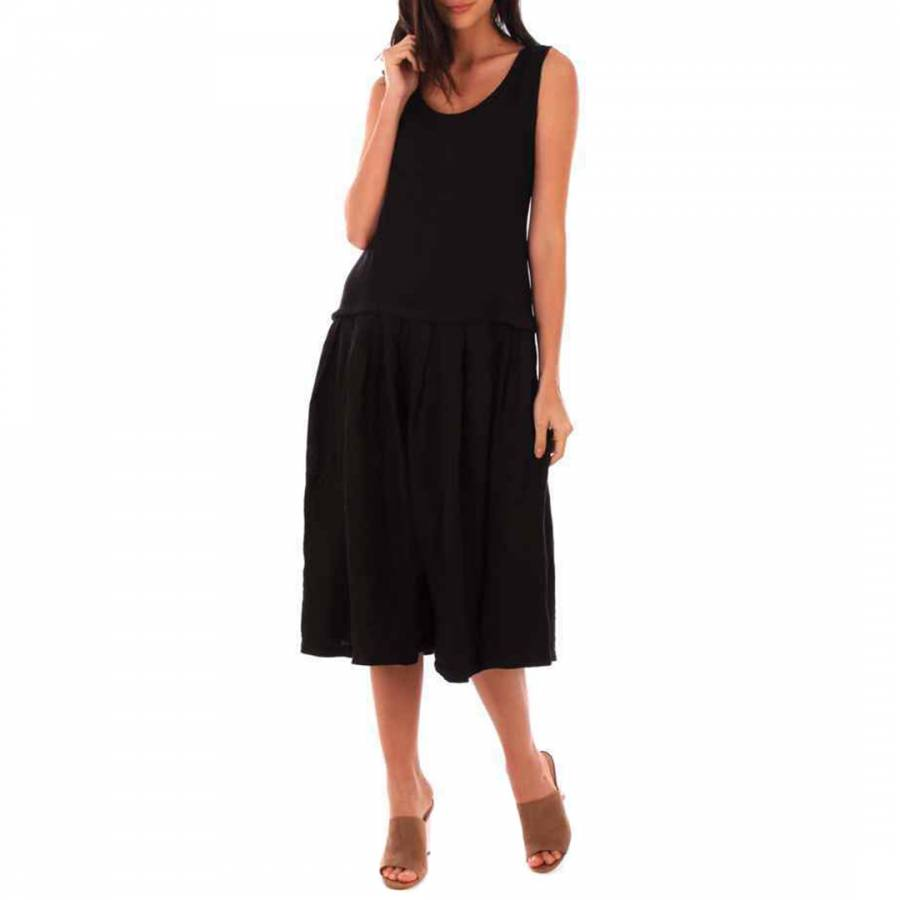 Image of Black Round Neck Linen Dress