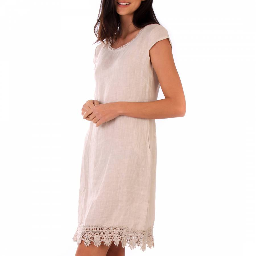 Image of Beige Lace Linen Dress