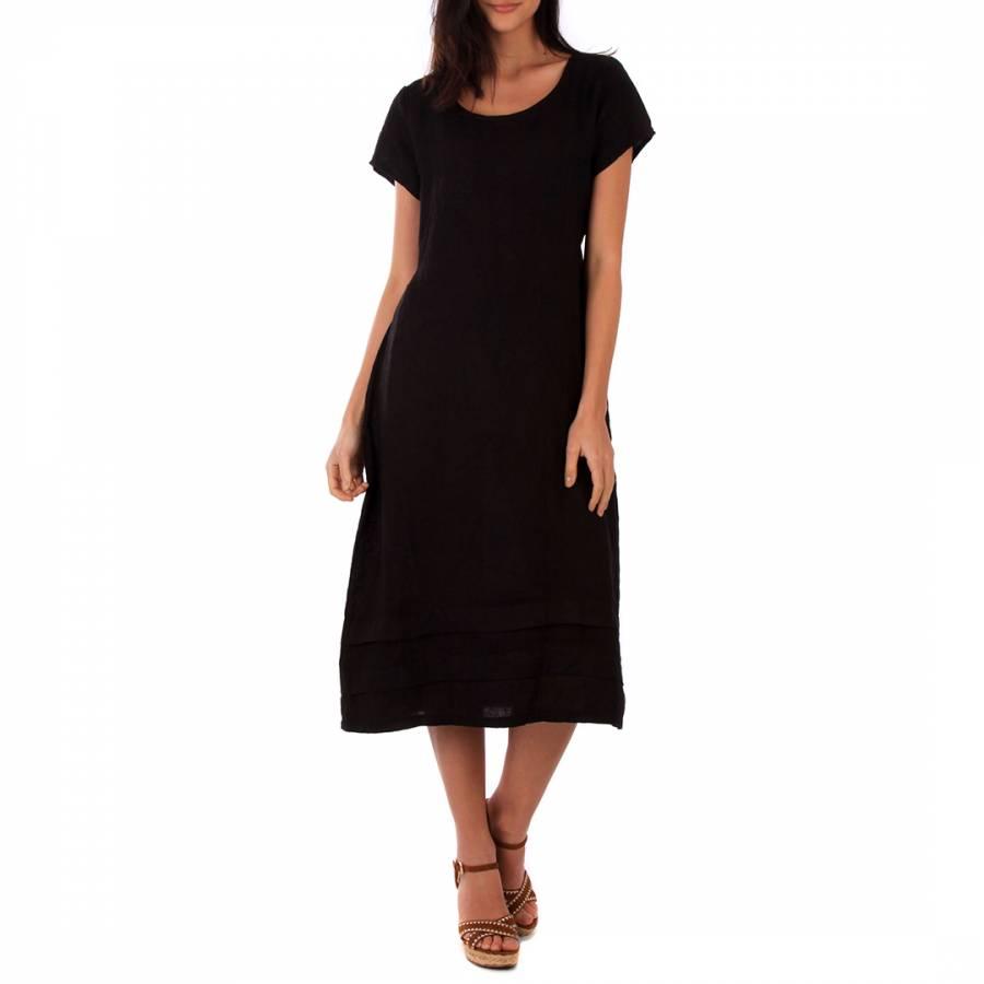 Image of Black Midi Linen Dress
