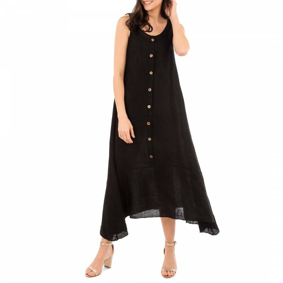 Image of Black Round Neck Maxi Dress