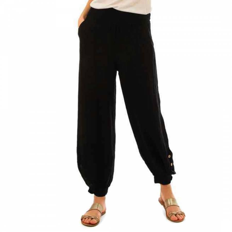 Image of Black Relaxed Linen Trousers