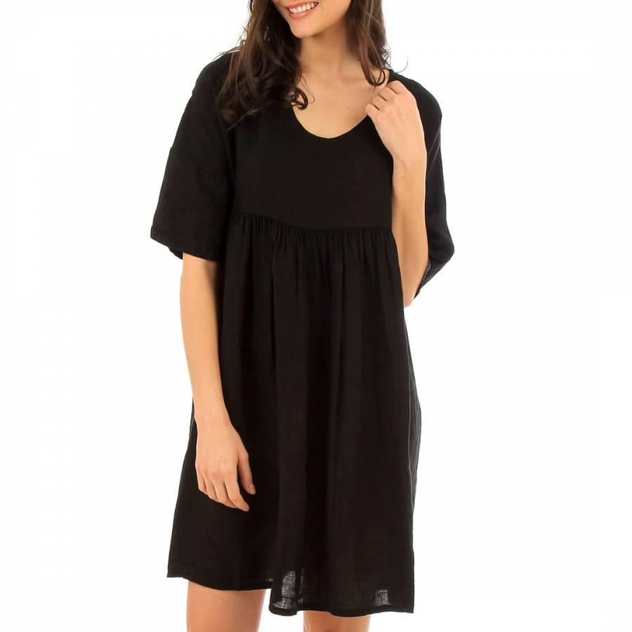 Image of Black Mini Linen Dress