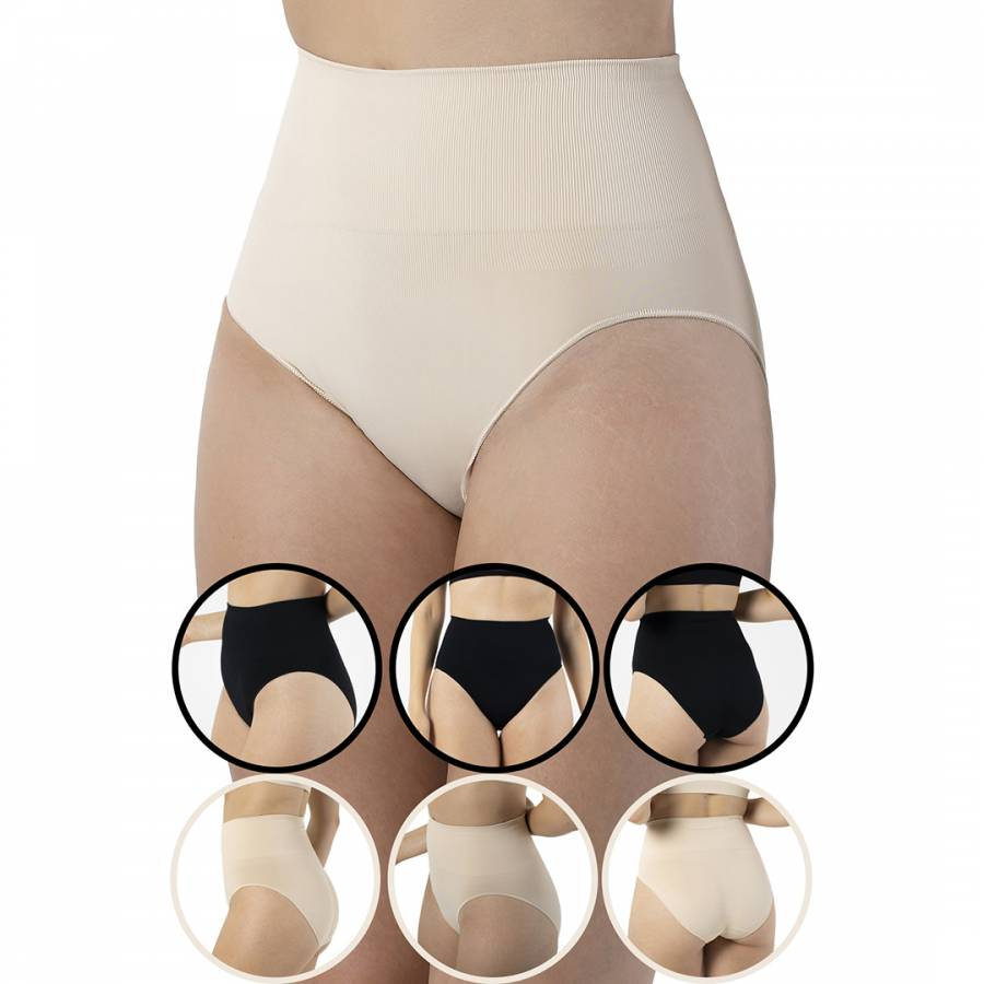 Image of 6 Pack 3 Black 3 Beige Seamless Shaping Brief