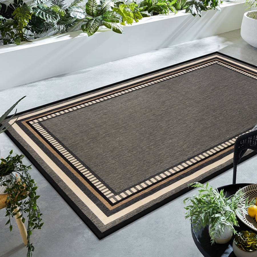 Grey/Black Border Outdoor Rug, 100x150cm - BrandAlley