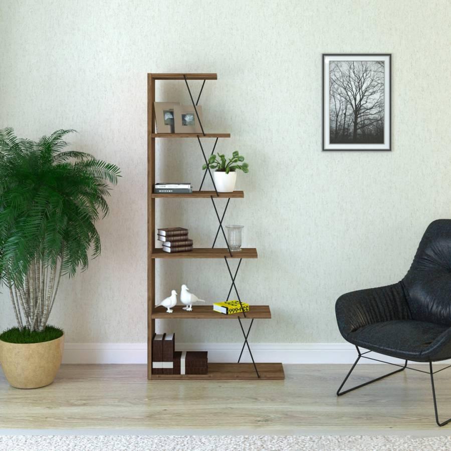 Vivense Loft Home Walnut /& Black TV Unit