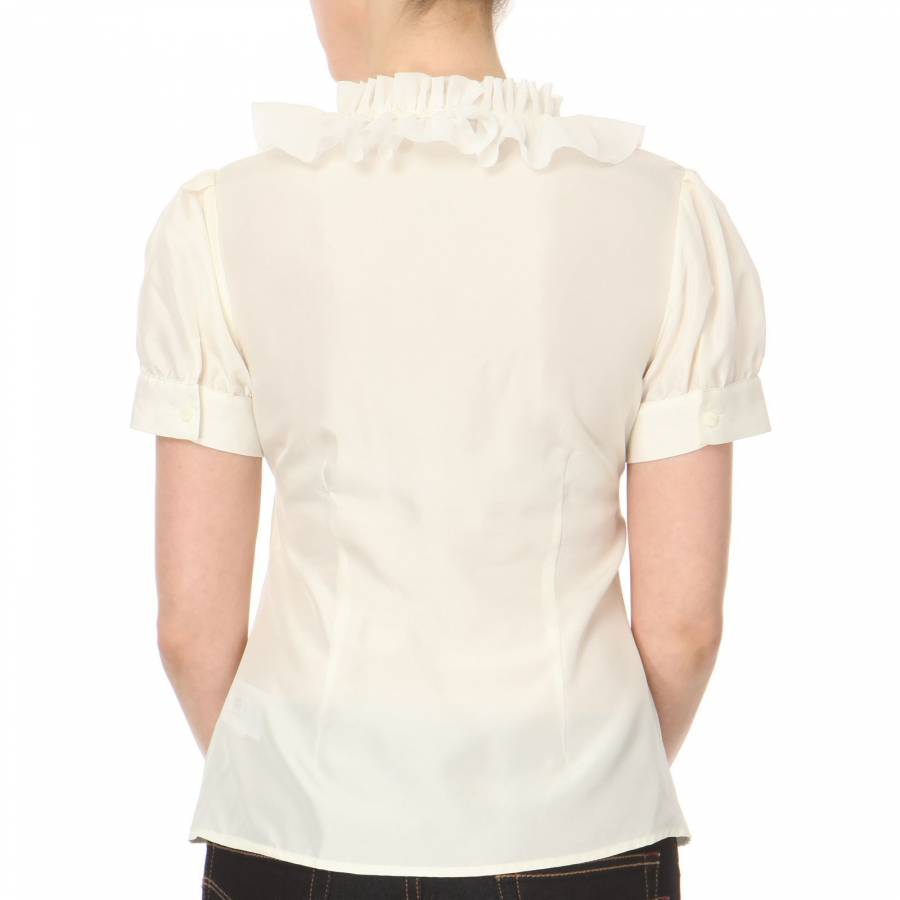 94a9985663cbe Ted Baker Cream Ruffle Front Silk Blouse. Label