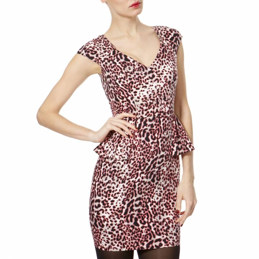5f84d01f335f Pink Animal Print Peplum Dress - BrandAlley