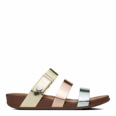deb9df16c33 Gold Silver Bronze Metallic Leather Gladdie Slide Sandals
