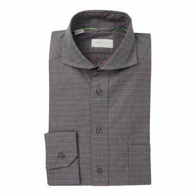 ae02dfbe Deep Grey/Pink Slim Fit Traditional Single Button Cuff Cotton Shirt
