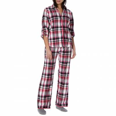 Fuchsia Pink Black Twill Check Long Sleeve Cuffed Boyfriend Pj Set ae949cbd4