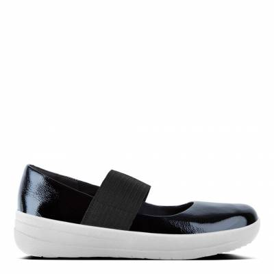 9b60d004507 Womens Midnight Navy Leather F Sporty Elastic Mary Janes