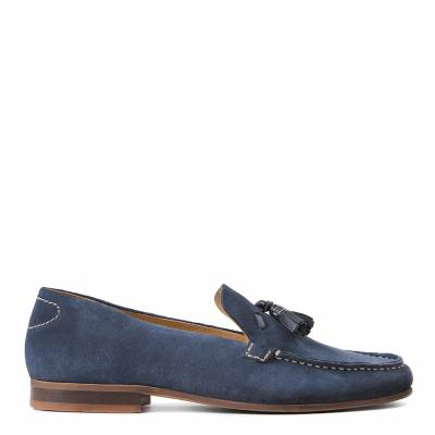 Men's Blue Suede Bernini Loafers