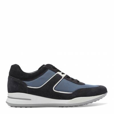 a07960a83af Blue Suede Textile Panel Sneakers