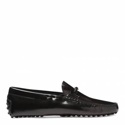 ae7b13290e Men s Black Patent Leather Circle Strap Loafers