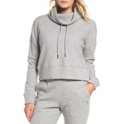 Womens Grey Heather Wool Jersey Knit Funnel Neck