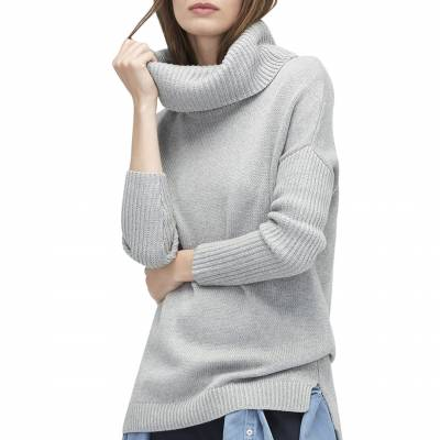 Womens Grey Heather Tunic Sweater