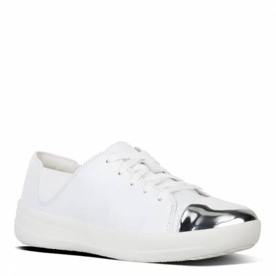 907c2ed9b Urban White Leather Mirror Toe Lace Up F-Sporty Sneakers