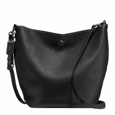 c0788dbea979 Black Glovetanned Pebble Leather Duffle Shoulder Bag