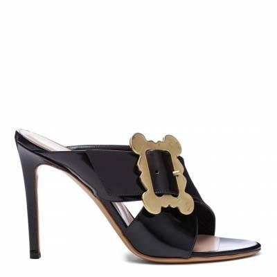 f7c081cdfc3c Black Patent Leather Frame Heeled Sandals
