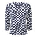 Pure Collection Navy Diamond Jacquard Cotton Jersey Sweatshirt