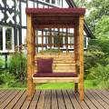 Charles Taylor Bramham Two Seat Arbour with Burgundy Cushions