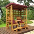 Charles Taylor Henley Twin Seat Arbour with Burgundy Cushions
