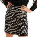Mango Black Sequin Zebra Miniskirt