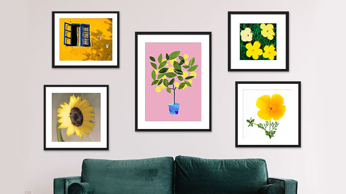Framed Prints Bursting With Sunshine Bring a little sunshine indoors with this collection of framed artwork featuring a range of vibrant prints.