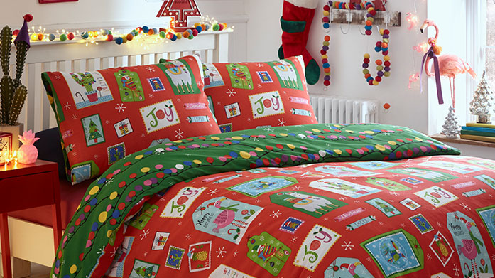 Festive Bed Linen Dress your bed in fun, colourful festive bed linen this Christmas time. There's a merry duvet set for all!