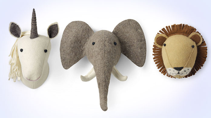 Happy Friday Animal Heads Add a unique centrepiece to the kids' bedrooms with these charming felt animal heads by Happy Friday. Rawrrr!