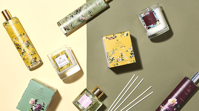 Oasis Home Fragrance The Oasis home fragrance range features a delectable collection of sweet scented candles, reed diffusers and room sprays.