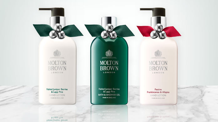 Molton Brown Give the gift of luxury, or treat yourself, with the wonderfully decadent body washes, shower gels and Christmas gift sets by Molton Brown.