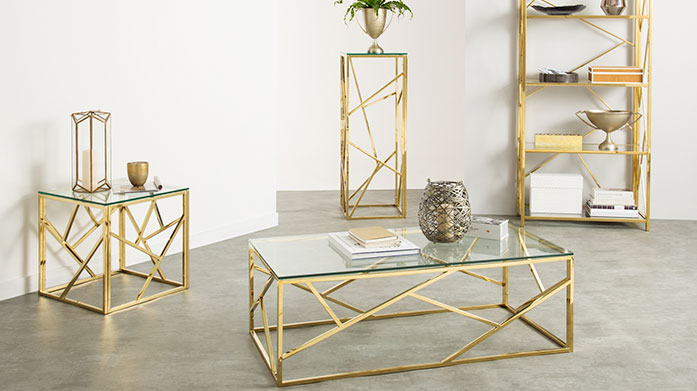 Serene Accent Furniture Discover our range of Serene accent furniture, including luxe glass coffee tables, antique-style bar carts and gold console tables.