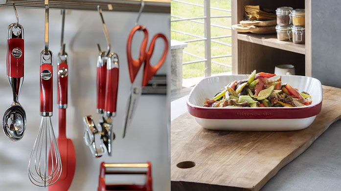 KitchenAid Cookshop Our brand new KitchenAid cook shop includes kitchen knives, pots and pans, casserole dishes and weighing scales in iconic KitchenAid colours.