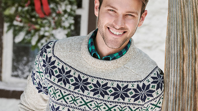 Christmas Jumpers For Him Browse our classic yet stylish collection of men's Christmas jumpers by Crew Clothing, Bagutta and Musto.